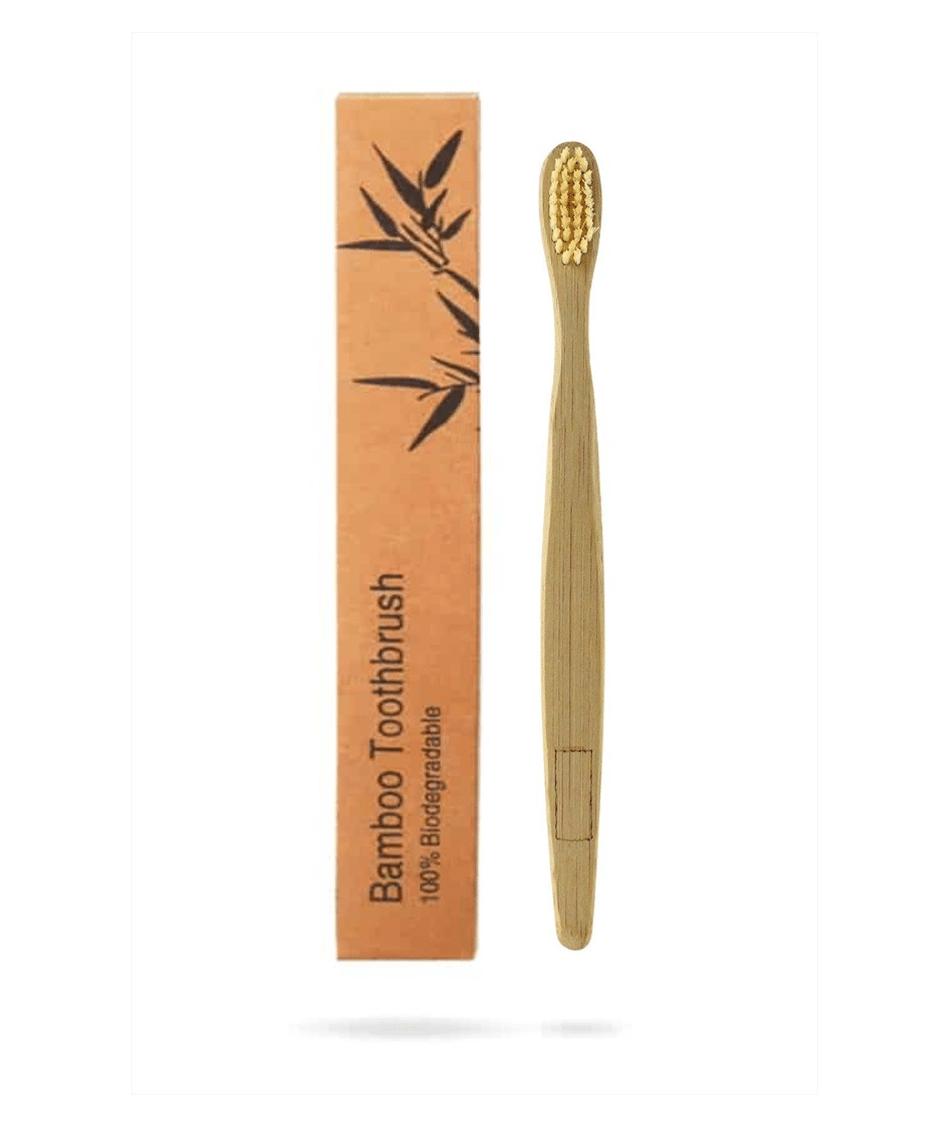 brosse a dent en bambou beige